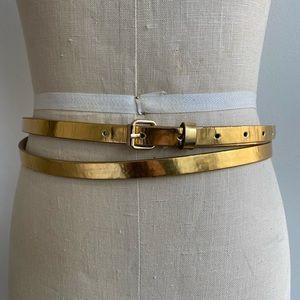 BCBG gold tone double wrap belt